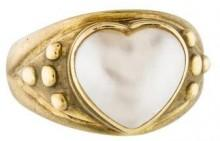 14K Heart Pearl Ring