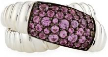 John Hardy Bedeg Silver Lava Crossover Ring w/ Pink Sapphires, Size 8