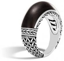 John Hardy Classic Chain Silver 10mm Dome Ring with Ebony Wood, Size 7