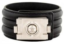 Chanel CC Leather Cuff Bracelet
