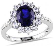 Sapphire & Diamond Round Ring