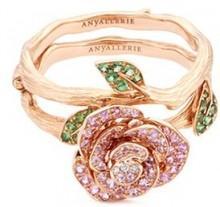 Anyallerie 'Rose Blossom' diamond gemstone 18k rose gold convertible ring