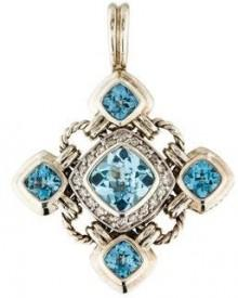David Yurman Diamond & Topaz Renaissance Pendant