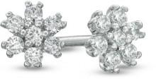 1/8 CT. T.W. Diamond Snowflake Cluster Stud Earrings in 14K White Gold