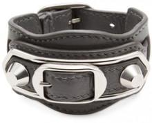Studded Double Buckle Leather Bracelet