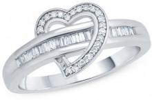 1/5 CT. T.W. Baguette and Round Diamond Heart Ring in Sterling Silver