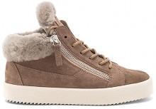 Giuseppe Zanotti Maylondon Sheep Fur Sneaker in Taupe