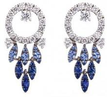 Ferrari Firenze 'Sole' diamond sapphire 18k white gold earrings