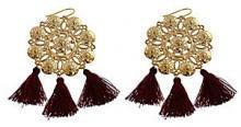 Panacea Medallion Tassel Statement Earrings