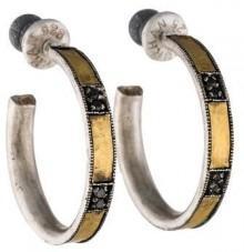 Gurhan Two-Tone Black Diamond Hoop Earrings