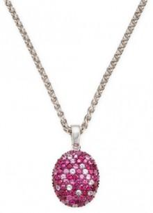 Sterling Silver Ruby and Multicolor Pink Sapphire Pendant