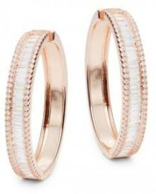 Rose Goldtone & Cubic Zirconia Hoop Earrings