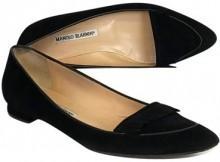 Manolo Blahnik Black Pointed Toe Flats