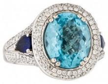 Charles Krypell Blue Topaz, Diamond & Sapphire Ring