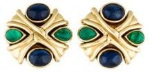 18K Emerald & Sapphire X Clip-On Earrings