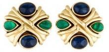 18K Emerald & Sapphire X Clip-On Earrings