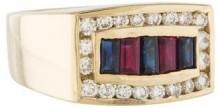 14K Sapphire, Ruby & Diamond Ring