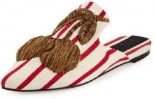 Sanayi313 Ciliegia Striped Mule Slide, White/Red