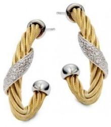 Cable Pave Diamond Hoop Earrings