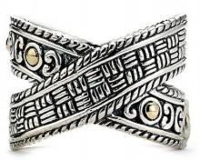 Samuel B Jewelry 18K Gold & Sterling Silver Balinese X Ring