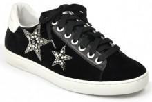 Lola Cruz - 199765BK - Velvet Embellished Star Sneaker
