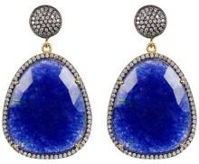 Forever Creations USA Inc. 18K Gold Vermeil Sterling Silver Sapphire & CZ Dangle Earrings