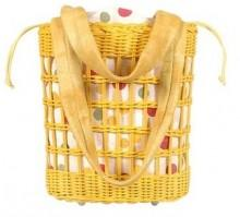 Forzieri Capaf Yellow Wicker Leather Bucket Bag