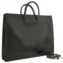 Pratesi Ladies' Polished Black Leather Classic Briefcase
