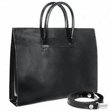 Pratesi Ladies' Polished Black Leather Classic Handbag